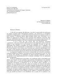 Lettre adressée au ministre de l'Enseignement supérieur ... - APLAES