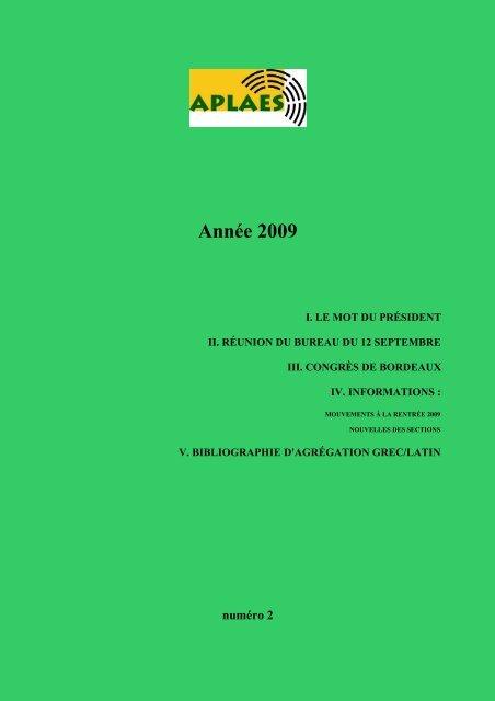 Bulletin n° 2, année 2009 - APLAES