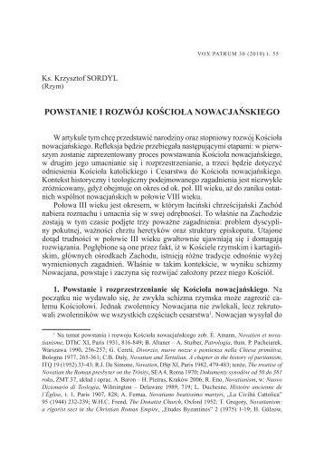 powstanie i rozwój kościoła nowacjańskiego - Vox Patrum