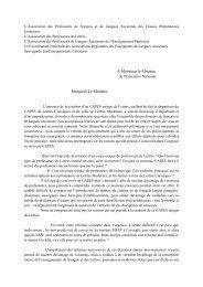Lettre commune APFLA-CPL, APL, APLAES et CNARELA