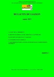 Bulletin de liaison de l'APLAES - Année 2013, n° 1