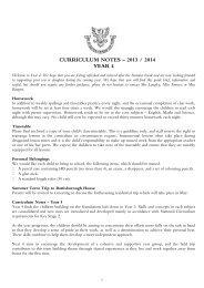 CURRICULUM NOTES – 2013 / 2014 YEAR 4 - Hall Grove School