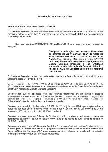 INSTRUÇÃO NORMATIVA 1/2011 Altera a instrução normativa COB ...