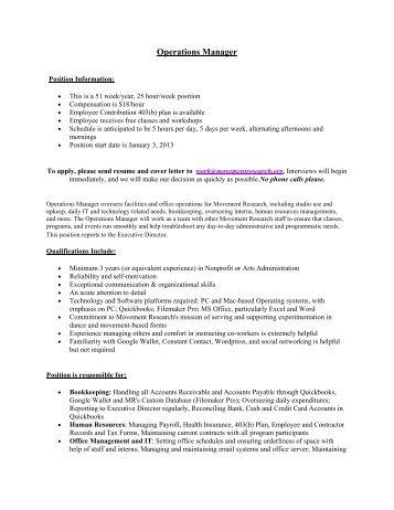 Department Manager Job Description. sample job description ...