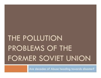 THE POLLUTION PROBLEMS OF THE FORMER SOVIET UNION