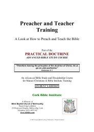 Preacher and Teacher Training - Bible Baptist Church of Blarney