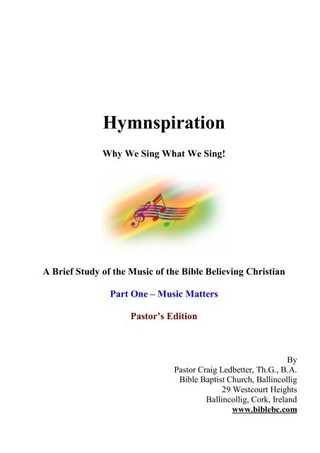 Hymnspiration Instructors Workbook 1 pdf - Bible Baptist Church