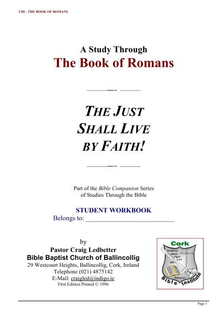 Romans Study Guide a4 - Student pdf - Bible Baptist Church of