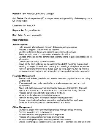 Job Description Position Title: Operations Manager ... - Girls Inc.