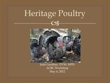 Heritage Poultry - American Livestock Breeds Conservancy