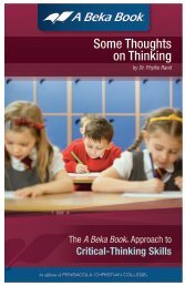ABB Some Thoughts on Thinking (PDF) - A Beka Book