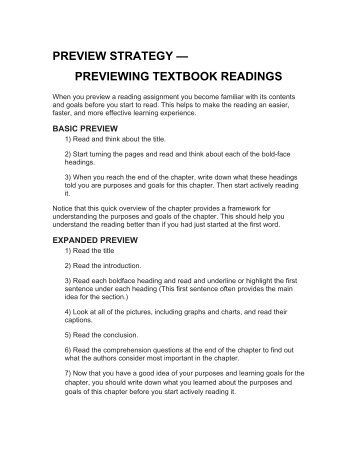 Preview Strategy: Previewing Textbook Readings - CETaL