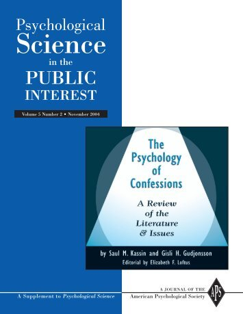 Psychological Science in the Public Interest - Williams College