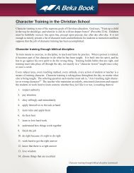 Character Training in the Christian School - A Beka Book