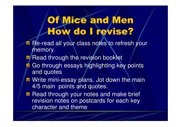 Of Mice and Men How do I revise?
