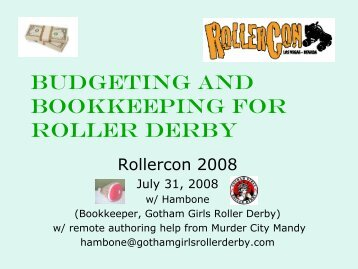 budgeting and bookkeeping for roller derby - Spankaroo!