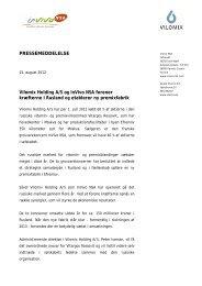 Vilomix Holding A/S og InVivo NSA etablerer ny ... - DLA Group