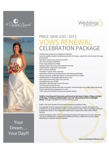 VOWS RENEWAL - Weddings by Lomas Travel