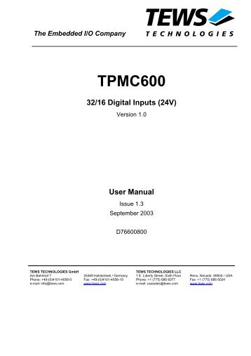 User Manual TPMC600 - powerBridge Computer
