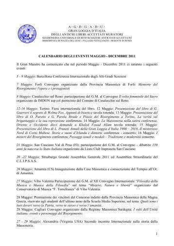 Calendario Eventi Maggio / Dicembre 2011 - Gran Loggia d'Italia