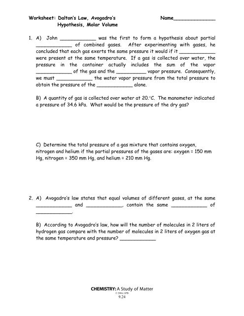 Dalton 39 S Law Avogadro 39 S Law And Molar Volume Worksheet