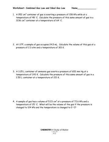 Worksheet – Ideal Gas Law Name_______________ Period______ ...