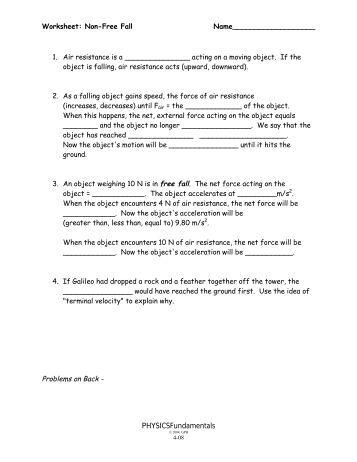 Mr. Stanbrough's Free Fall 1 Applet Worksheet