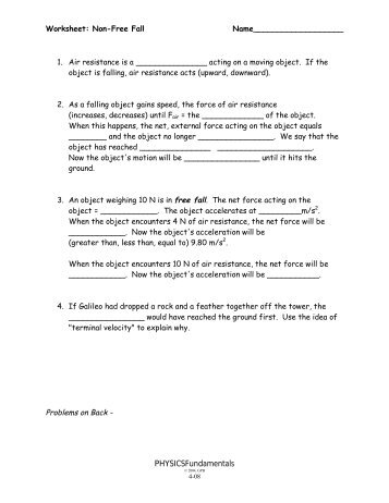 physics 110 free fall worksheet davidson physics. Black Bedroom Furniture Sets. Home Design Ideas