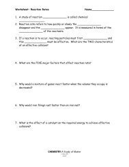 Worksheet- Reaction Rates & Le Chatelier