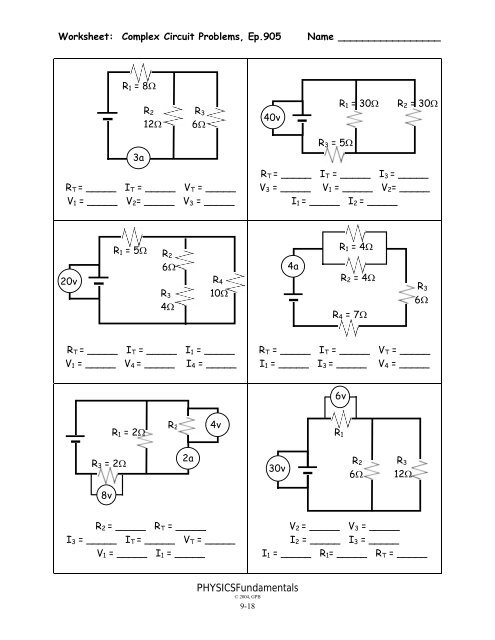 printables of worksheet resistance episode 905 answers ... grade 9 circuit diagram problems