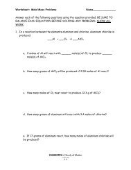 Worksheet: More Mole Problems