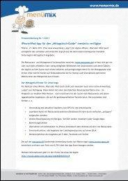 "iPhone/iPad-App für den ""Mittagstisch-Guide"" menümix verfügbar"