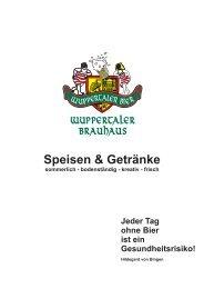 Speisekarte Brauhaus Wuppertal