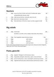 menu card - Lipno-Markus.