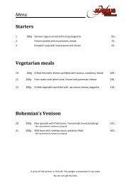 Menu Starters Vegetarian meals Bohemian's Venison - Lipno-Markus.