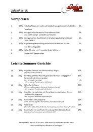 Jídelní lístek Vorspeisen Leichte Sommer Gerichte - Lipno-Markus.