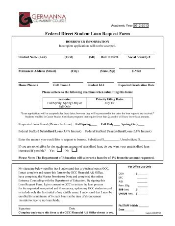 Federal Direct Stafford Student Loan Request Form - Skyline College