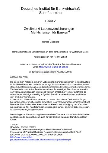 Zweitmarkt Lebensversicherungen - Deutsches Institut für ...