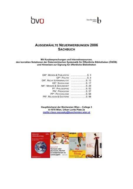 Ausgewählte Neuerwerbungen 2006 Sachbuch Büchereien Wien