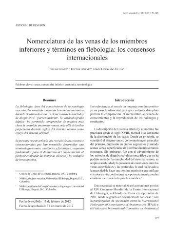 Nomenclatura de las venas de los miembros ... - SciELO Colombia