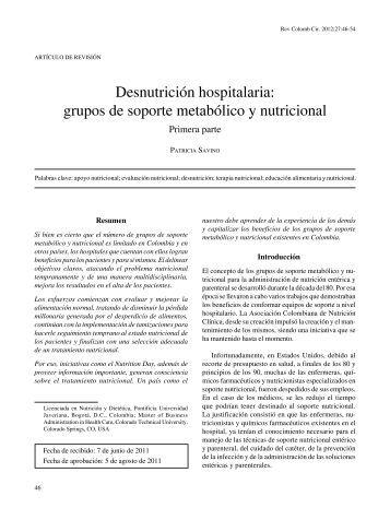 Desnutrición hospitalaria: grupos de soporte ... - SciELO Colombia