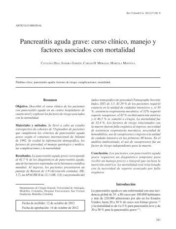 Pancreatitis aguda grave: curso clínico, manejo ... - SciELO Colombia