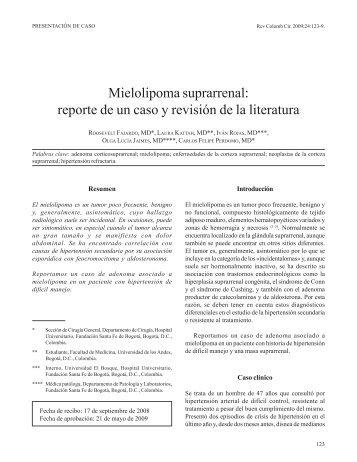 Mielolipoma suprarrenal - SciELO Colombia