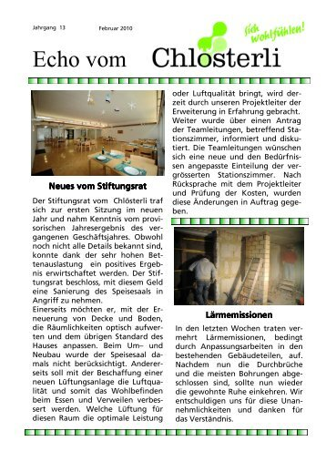 Ausgabe Februar / Neues vom Stiftungsrat