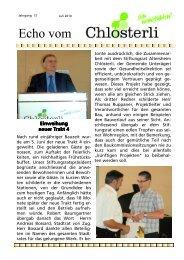 Ausgabe Juli 1 Eröffnung Trakt 4 - Altersheim Chlösterli, Unterägeri