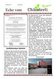 Ausgabe April / Qualitätsicherung - Altersheim Chlösterli, Unterägeri
