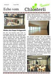 Ausgabe August Teil 1 - Altersheim Chlösterli, Unterägeri