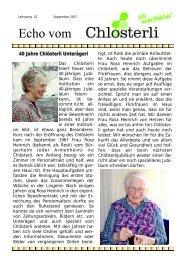 Ausgabe September - Altersheim Chlösterli, Unterägeri