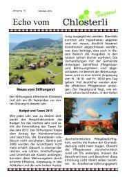 Ausgabe Oktober / Neues vom Stiftungsrat / Budget 2013 / Taxen