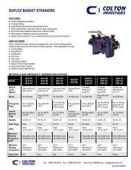 Duplex Basket Strainers - Product Data Bulletin - Colton